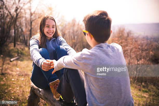 Friends enjoy the beautiful day outdoors