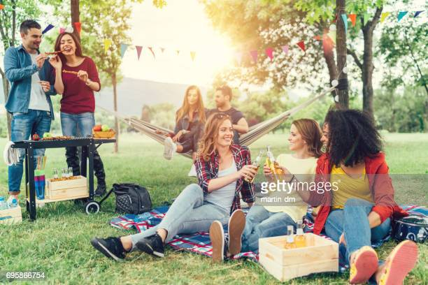 friends enjoying a barbecue in the park - party social event stock pictures, royalty-free photos & images