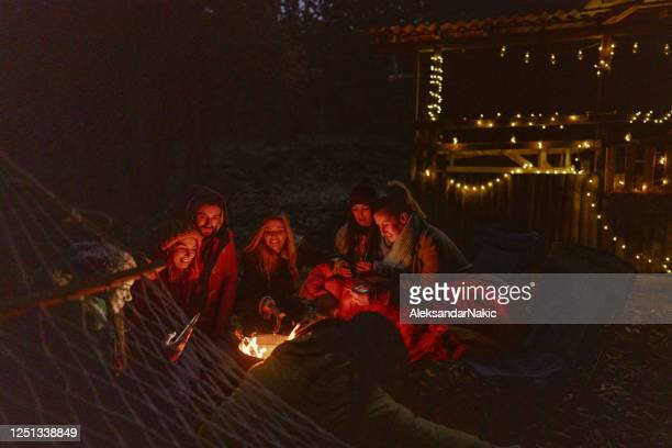 friends enjoying by the campfire - warming up stock pictures, royalty-free photos & images