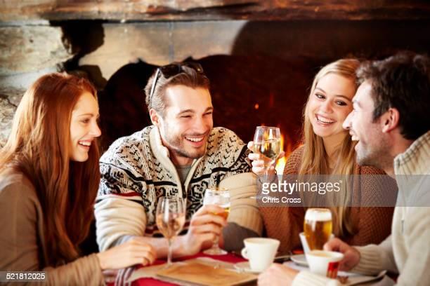 Friends enjoying drinks together