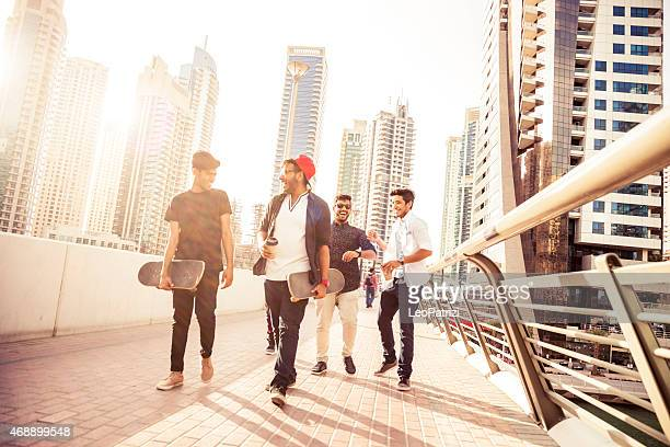 Friends enjoying Dubai city life