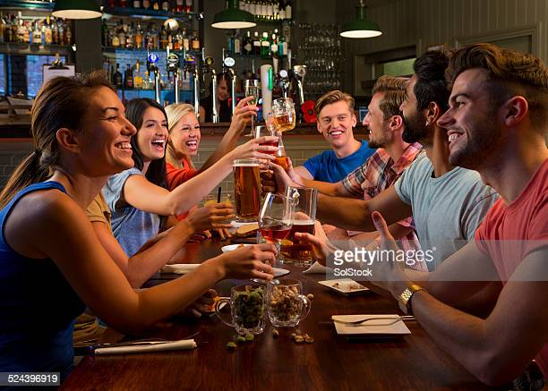 Friends Enjoying Food and Drink