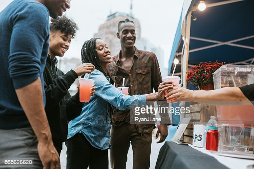 Friends Enjoying Food Truck Life in New York