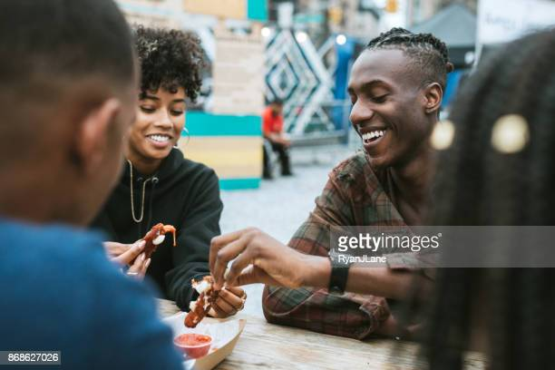 Friends Enjoying Food Truck Life in New York