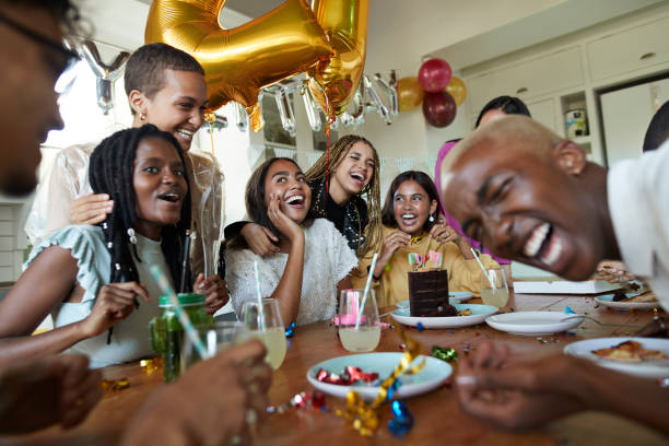 friends enjoying in birthday celebrations - best friend birthday cake stock pictures, royalty-free photos & images