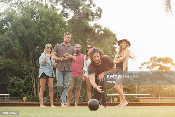 Friends Enjoying Lawn Bowling Game Sydney Australia