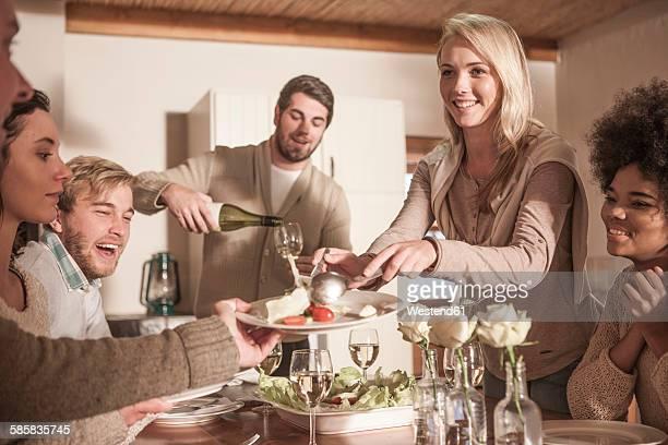 Friends enjoying meal together