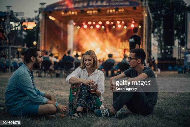 friends enjoying on concert - music festival stock pictures, royalty-free photos & images