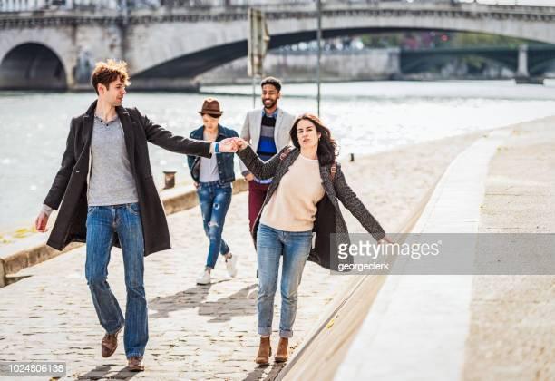 Friends enjoying Paris sunshine