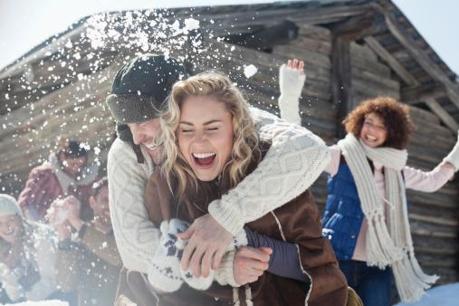 Friends enjoying snowball fight - gettyimageskorea