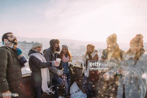 friends enjoying sunny winter day outdoors - medium group of people stock pictures, royalty-free photos & images