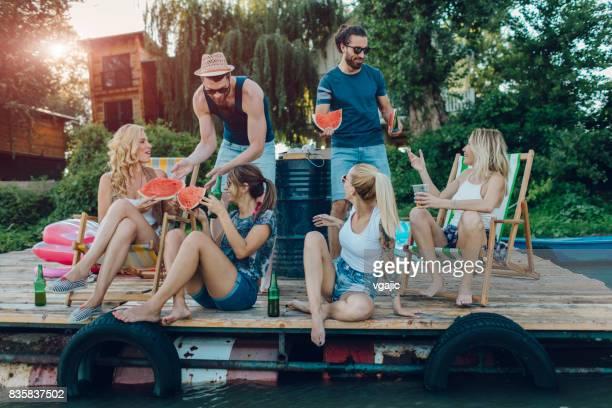 Friends Enjoying the Summer On Pier