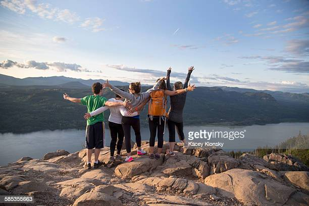 Friends enjoying view on hill, Angels Rest, Columbia River Gorge, Oregon, USA