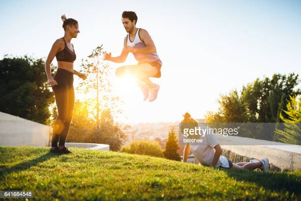 Friends Exercising Outdoors