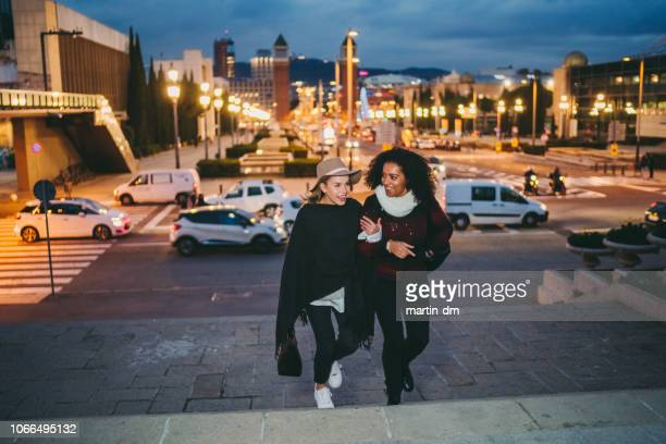 friends exploring barcelona together - expatriate stock pictures, royalty-free photos & images