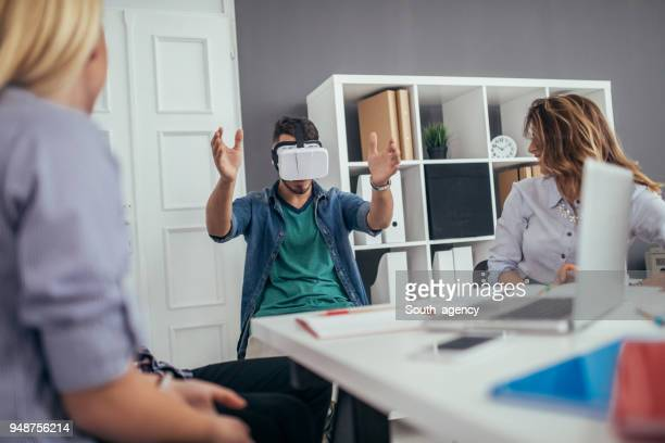 Friends exploring virtual reality