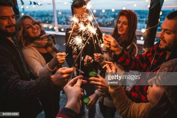 Friends feeling festive