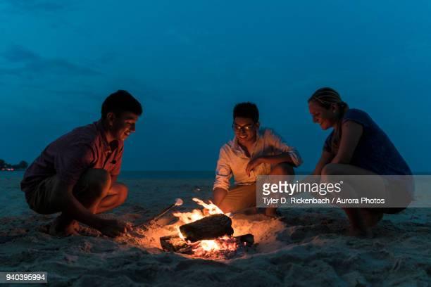 friends gathering around beach campfire to roasting marsh mallows on cool summer evening in wisconsin, usa - ウィスコンシン州シボイガン ストックフォトと画像