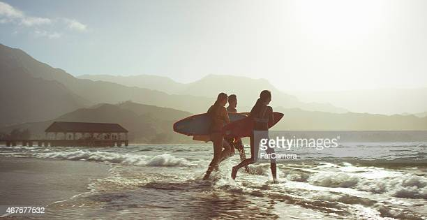 friends going surfing - north shore stock photos and pictures
