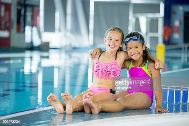 Friends Going Swimming at the Pool