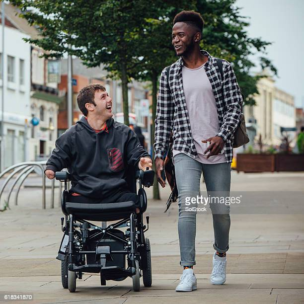 friends going to town - quadriplegic stock photos and pictures