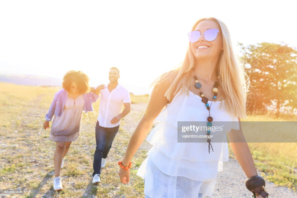 Friends hanging in nature : Stock Photo