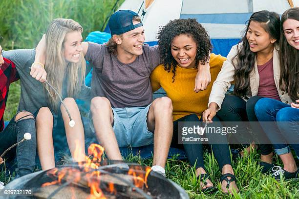 Friends Hanging Out Around the Campfire