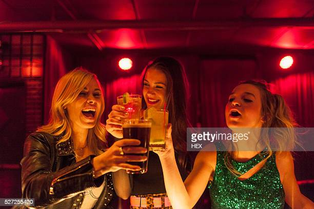 Friends hanging out at a nightclub