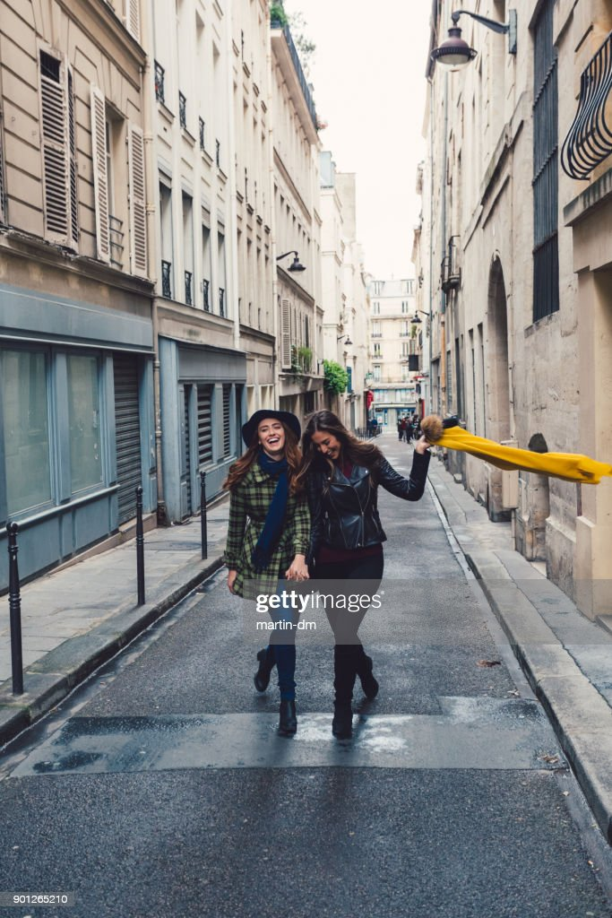 Young girls enjoying Paris together