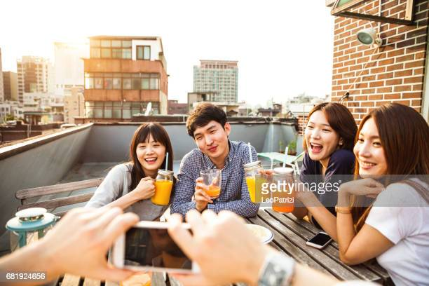 Friends have fun in a Seoul rooftop party - South Korea