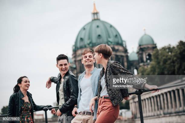 friends have fun in berlin on the street