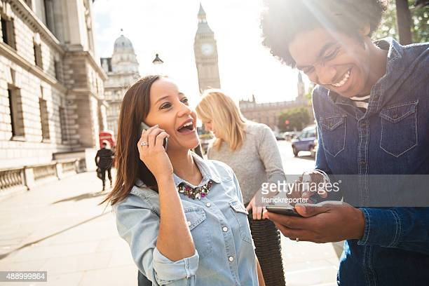 Friends have fun in London