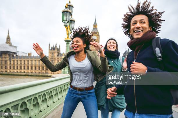 Friends having a blast in London
