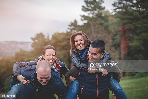 friends having a good time outside and laughing