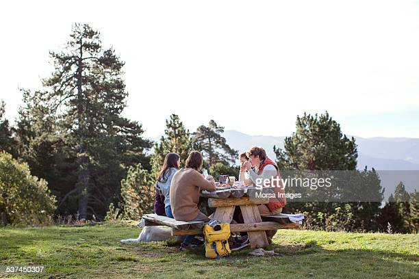 friends having breakfast at picnic table - picnic table stock pictures, royalty-free photos & images