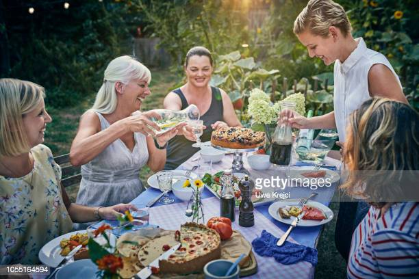 friends having dinner in garden - french food stock pictures, royalty-free photos & images