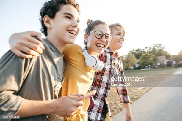 friends having fun after school - teenager stock pictures, royalty-free photos & images