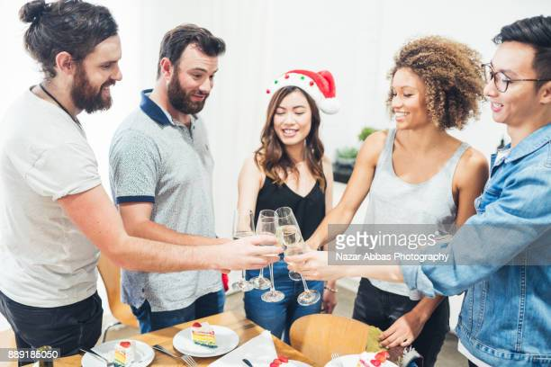Friends having fun and a celebratory toast.