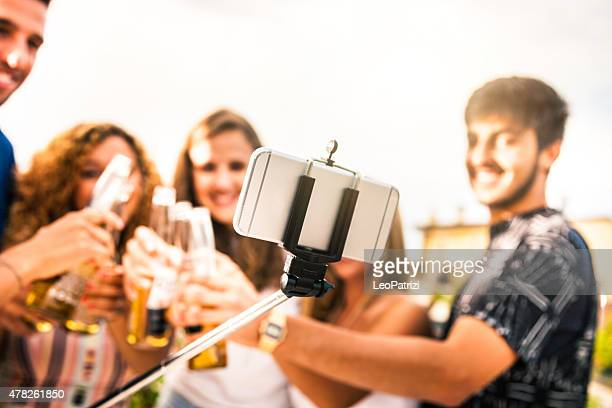 Friends having fun and taking a selfie