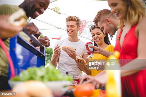 Friends Having Fun at a BBQ