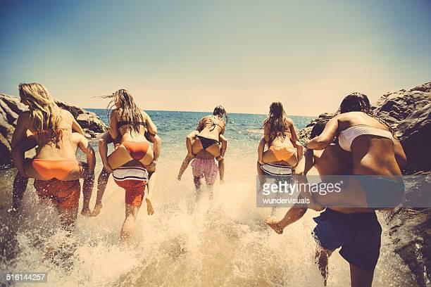 Friends Having Fun At Beach