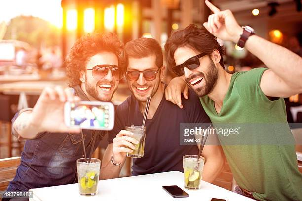 Friends having fun at the bar.