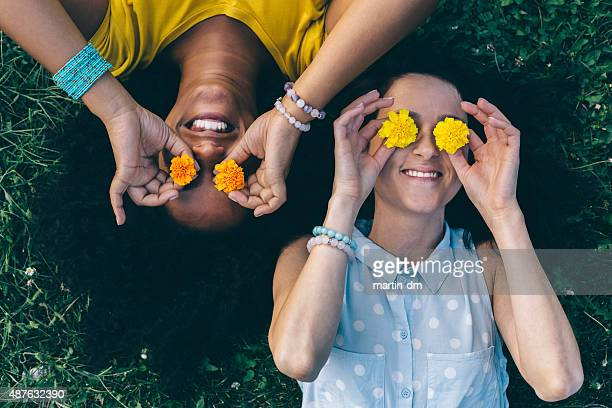 friends having fun in the park - funny black girl stock photos and pictures