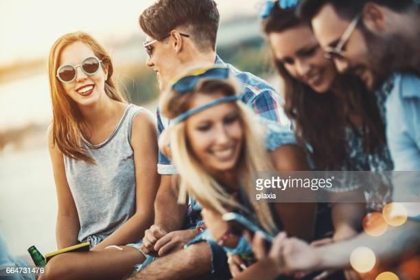 friends having fun in the street. - gilaxia foto e immagini stock