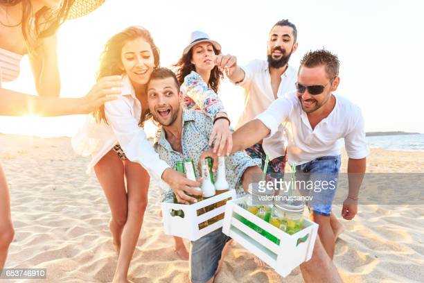 Friends having fun on beach