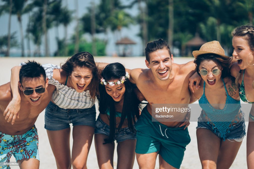 Freunde, Spaß am Strand : Stock-Foto