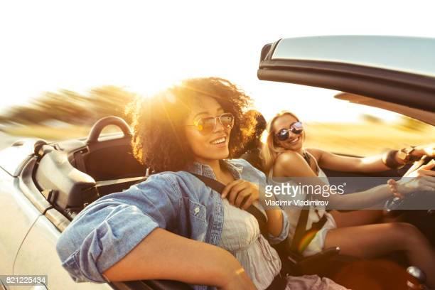 Friends having fun on road trip