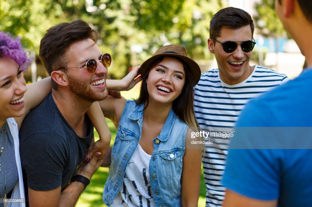 Friends having fun outdoor : Stock Photo
