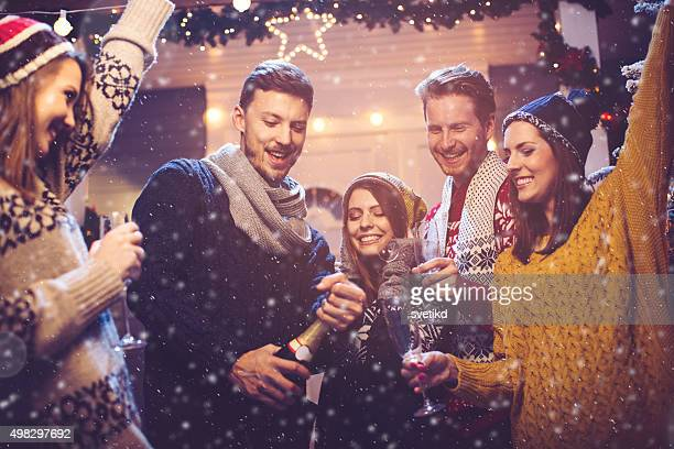 friends having fun outdoors. - christmas party stock photos and pictures