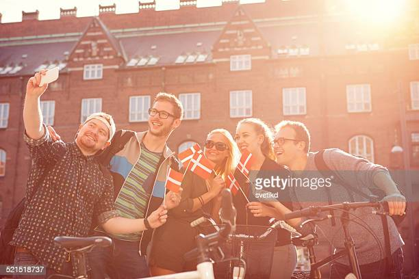 friends having fun outdoors. - danish culture stock pictures, royalty-free photos & images